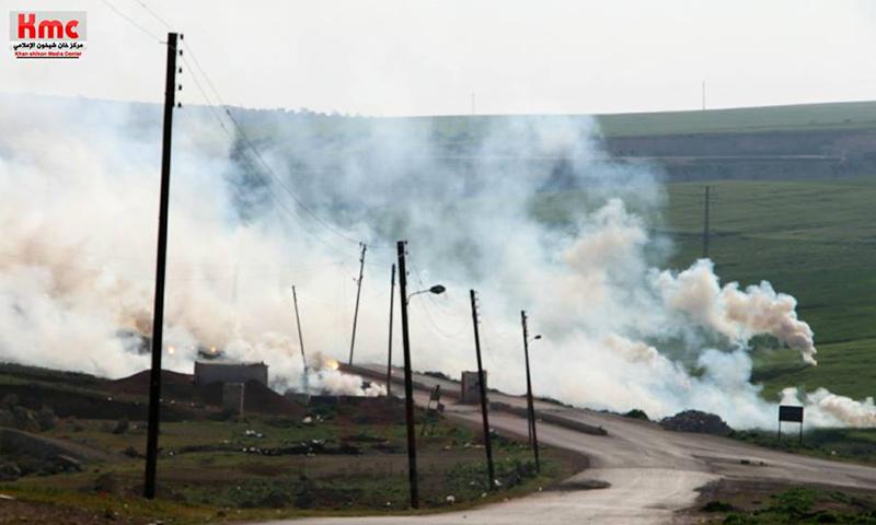 قنابل فراغية ألقتها طائرات حربية روسية على خان شيخون- الأحد 16 نيسان (مركز خان شيخون الإعلامي)