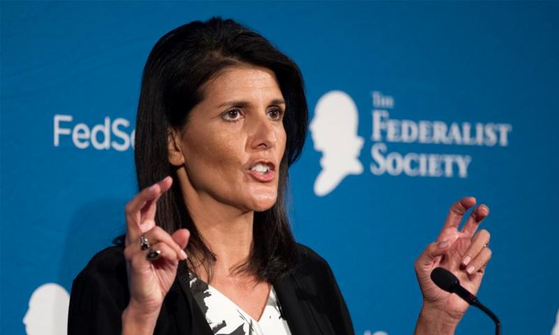 السفيرة الأمريكية لدى الأمم المتحدة نيكي هيلي - (انترنت)