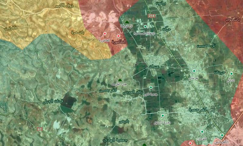 """""""جيب"""" عندان ويضم خمسة بلدات رئيسية في ريف حلب الشمالي الغربي (الخارطة الحربية)"""