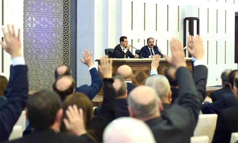 اجتماع القيادة القطرية في حزب البعث بحضور رئيس النظام السوري، بشار الأسد (فيس بوك)