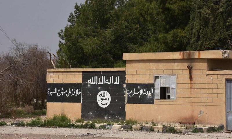 راية تنظيم الدولة الإسلامية مرسومة على جدار في بلدة دير حافر شرق حلب- (سبوتنيك)