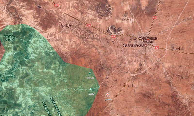 خريطة تظهر توزع السيطرة غرب السلمية - 17 نيسان 2017 (خرائط غوغل المعدلة)