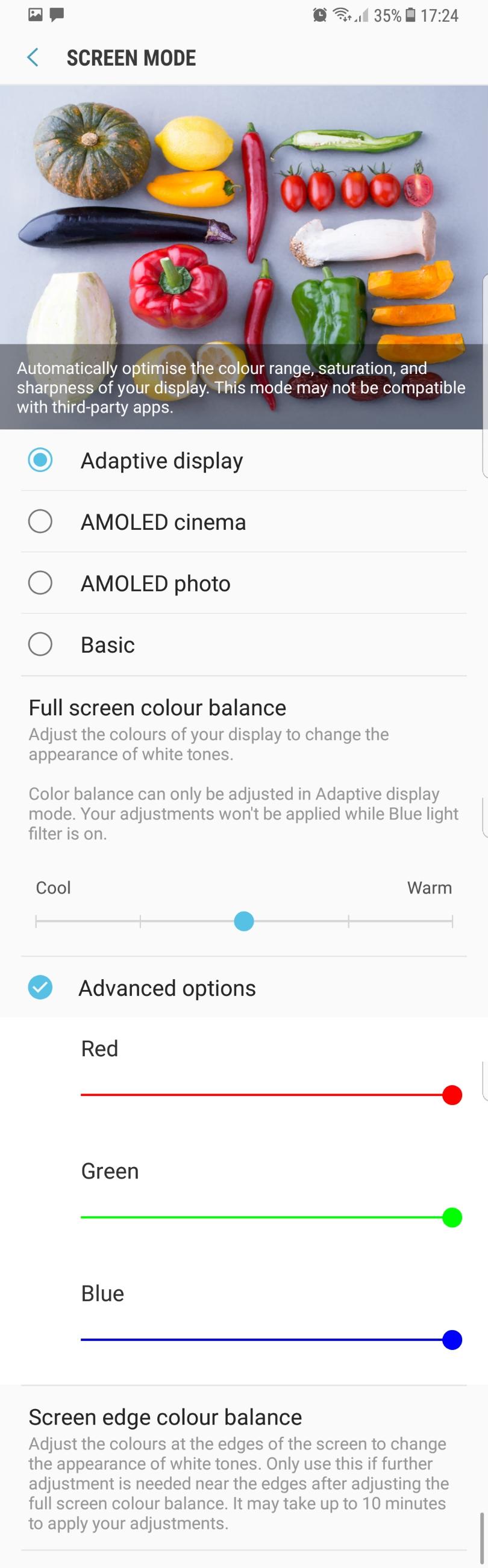 """صورة تظهر خيارات تعديل ألوان الشاشة الجديدة من """"سامسونج"""" (مواقع تقنية)"""