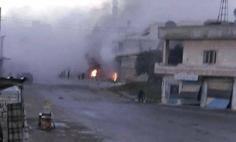قصف القنابل العنقودية على أورم الجوز بريف إدلب الجنوبي- 8 نيسان 2017-(فيس بوك)
