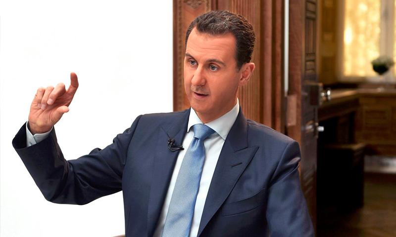 """رئيس النظام السوري، بشار الأسد خلال مقابلة مع صحيفة """"فيسرنجي لست"""" الكرواتية - 6 نيسان 2017 (سانا)"""