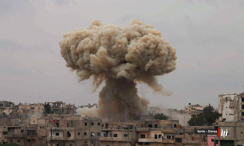 آثار القصف على أحياء درعا البلد - 9 نيسان 2017 (وكالة نبأ)