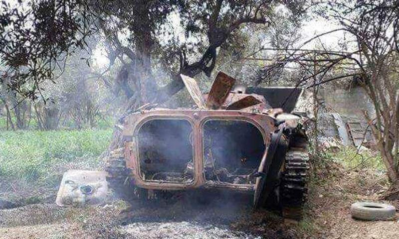 ناقلة جنود تابعة لقوات الأسد على جبهة القابون- الجمعة 14 نيسان (مكتب برزة)