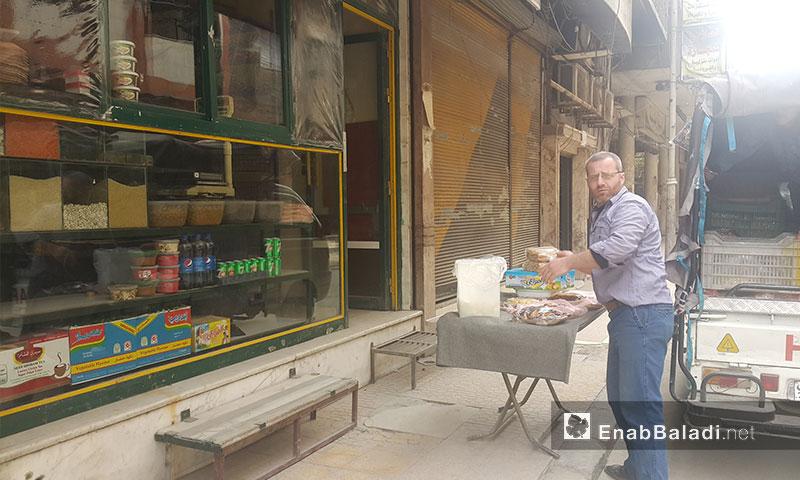 محل لبيع المواد الغذائية في مدينة دوما - 8 نيسان 2017 (عنب بلدي