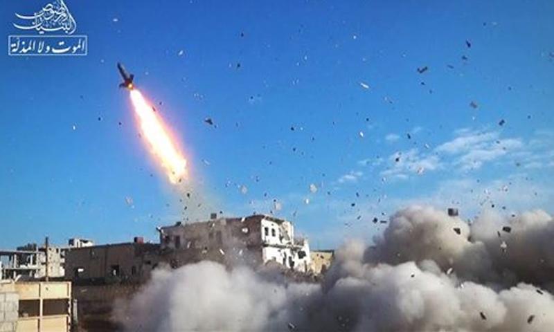 غرفة البنيان المرصوص تستهدف معاقل قوات الأسد في درعا البلد- 19 نيسان 2017- (البنيان المرصوص)