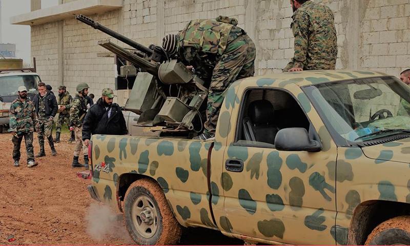 شاحنة تحمل رشاشًا ثقيلًا داخل مدينة محردة- الأحد 2 نيسان (الدفاع الوطني)