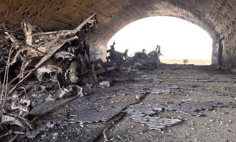 طائرة مدمرة في مطار الشعيرات- الجمعة 7 نيسان (صفحات موالية)