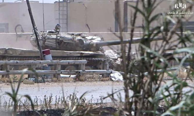 دبابة لقوات الأسد على جبهة القابون- الخميس 27 نيسان (مركز دمشق الإعلامي)