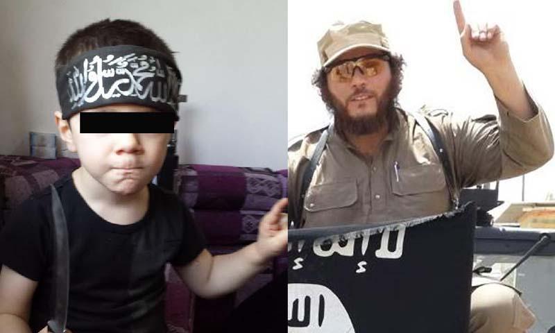 """صورة لعضو تنظيم """"الدولة الإسلامية""""، خالد شروف، وطفله (تعديل عنب بلدي)"""