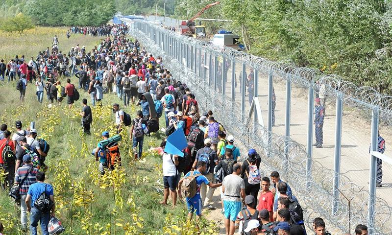 لاجئون على الحدود المجرية الصربية - (انترنت)