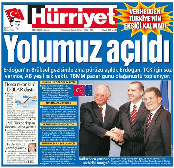 مانشيت صحيفة حرييت التركية- 24 إيلول 2004 (حرييت)