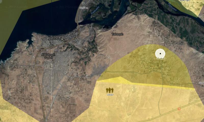 خريطة توزع السيطرة قرب مدينة الطبقة في ريف الرقة - 6 نيسان 2017 (تعديل عنب بلدي)