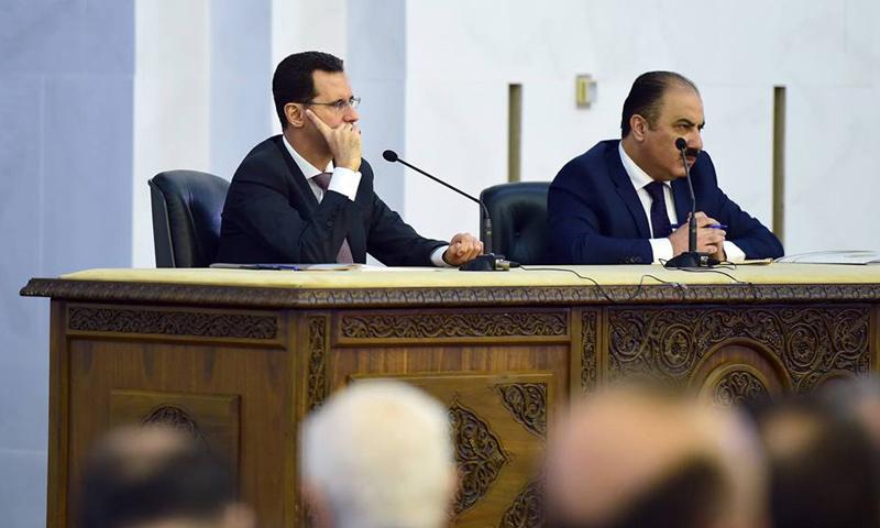 بشار الأسد إلى جانب هلال الهلال في اجتماع القيادة القطرية- السبت 22 نيسان (حزب البعث)