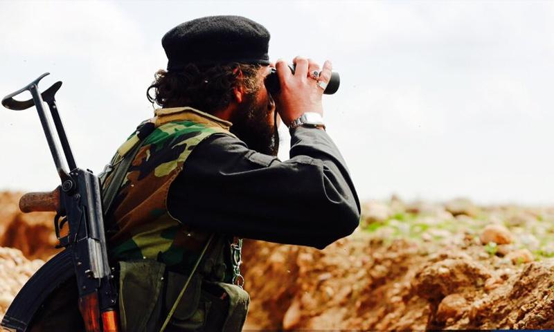 عنصر من تنظيم الدولة الإسلامية في محيط مدينة الرقة- (انترنت)