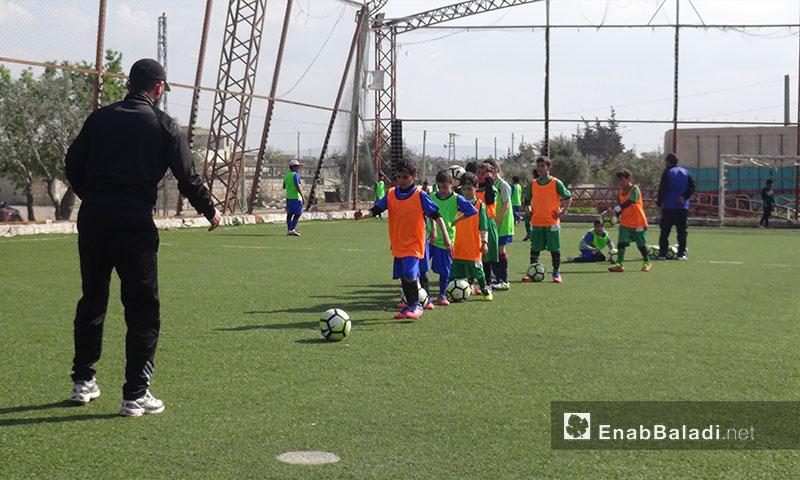 تدريبات مشروع الطفل الرياضي السوري في مدينة إدلب - 30 آذار 2017 (عنب بلدي)