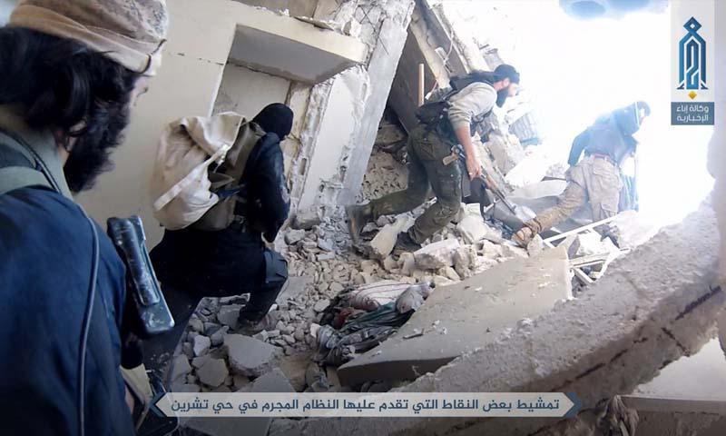 """عناصر من """"تحرير الشام"""" على جبهة حي تشرين شرق دمشق - 26 نيسان 2017 (وكالة إباء)"""