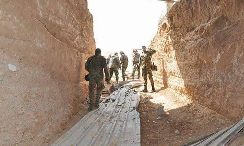 نفق يربط بين القابون والغوطة الشرقية قالت قوات الأسد إنها سيطرت عليه- الاثنين 24 نيسان (فيس بوك)