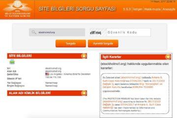 """رسالة صفحة """"الاستفسار عن معلومات الموقع"""" حول سبب حجب الموسوعة الحرة في تركيا- 29 نيسان (إنترنت)"""