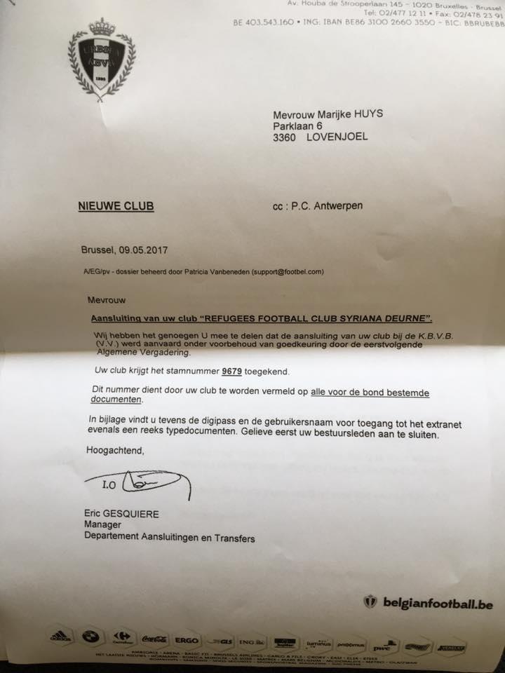 كتاب قبول النادي في دوري الدرجة الرابعة البلجيكي - أيار 2017 (مدير النادي في فيس بوك)