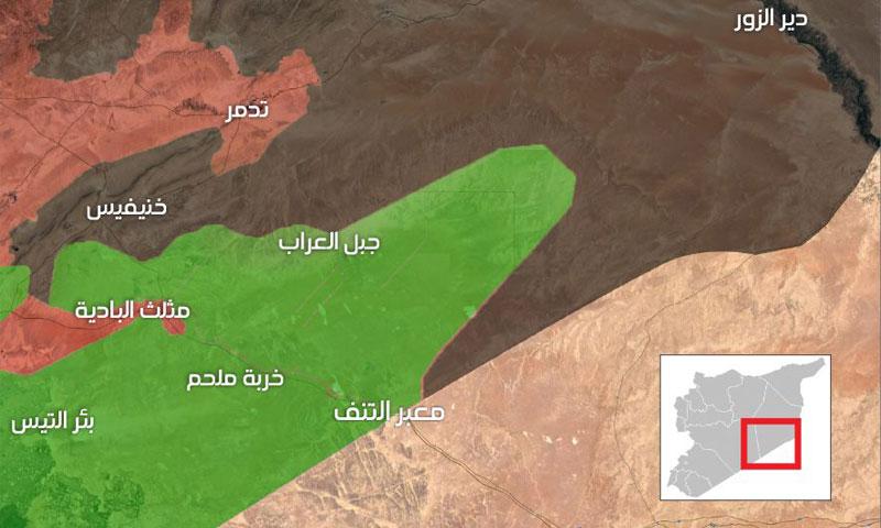 خريطة السيطرة العسكرية في المنطقة الشرقية من سوريا - 13 أيار 2017 (عنب بلدي)