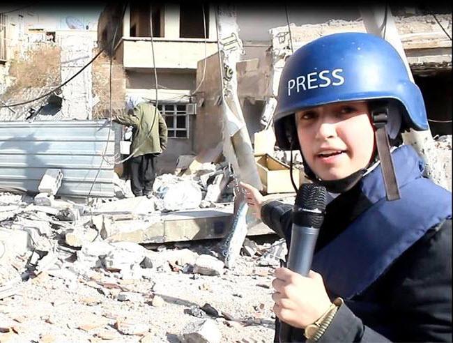 الناشطة السورية سمارة القوتلي في تقرير لقناة الجزيرة من الغوطة الشرقية (يوتيوب الجزيرة)