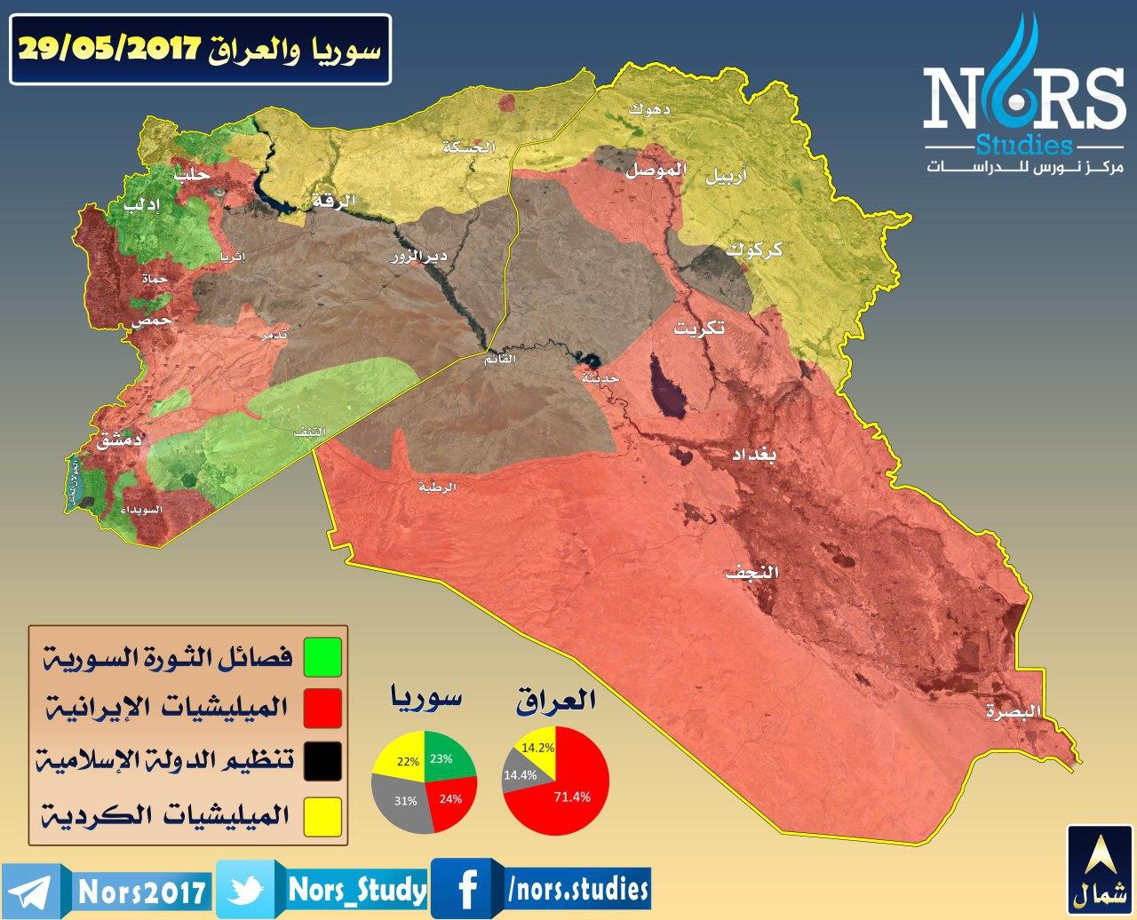 خريطة السيطرة في سوريا والعراق - 29 أيار 2017 (مركز نورس للدراسات)