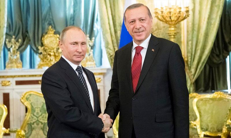 الرئيس التركي، رجب طيب أردوغان، والروسي، فلادمير بوتين (إنترنت)