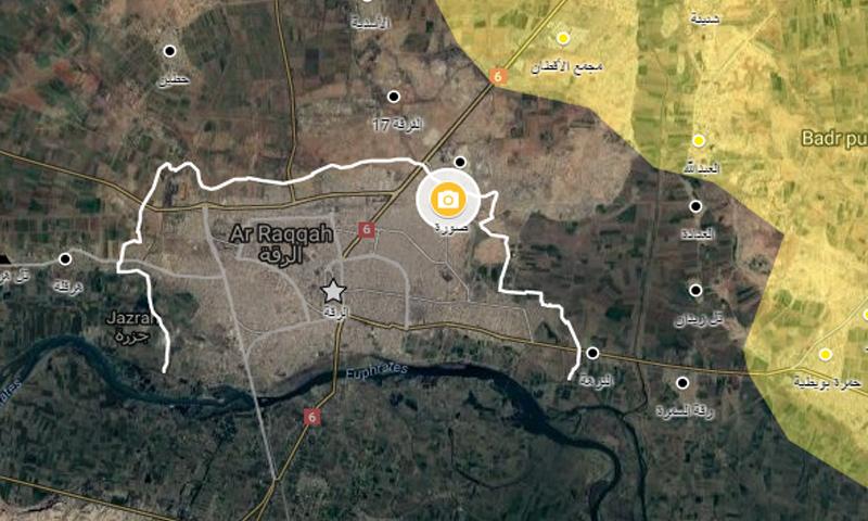 خريطة توضيحية لمناطق النفوذ الحالية في محيط مدينة الرقة - 24 أيار - (عنب بلدي)