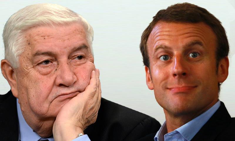 الرئيس الفرنسي إيمانويل ماكرون، إلى جانب وزير الخارجية السوري وليد المعلم (تعديل عنب بلدي)