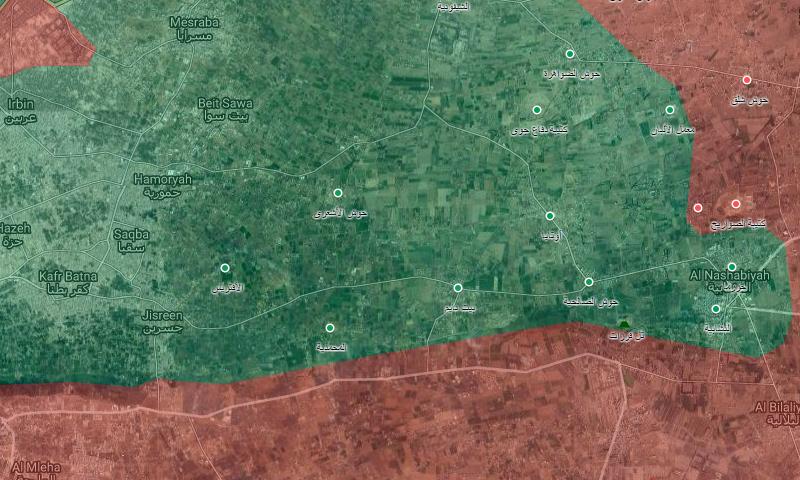 خريطة تظهر التطورات جنوب الغوطة (غوغل المعدلة)