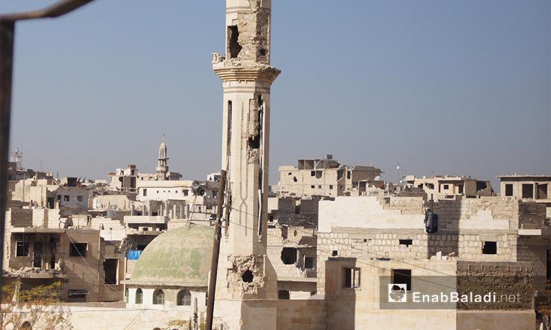 مئذنة مسجد مدمر في معرة النعمان بإدلب - أيار 2017 (عنب بلدي)