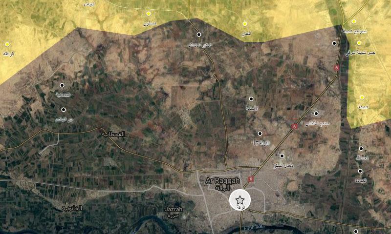 خريطة السيطرة في محيط الرقة (خرائط غوغل المعدلة)