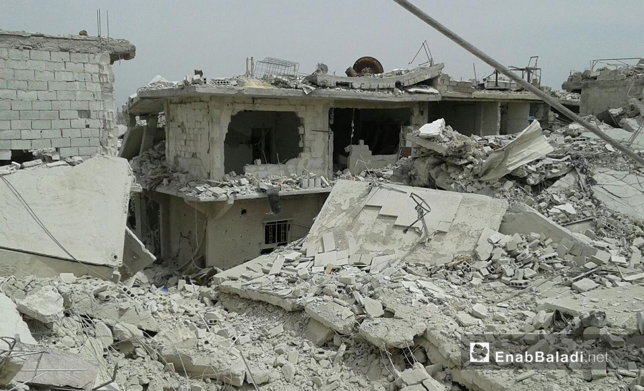 رصدت عنب بلدي آثار الدمار الهائل في حي القابون الدمشقي، الأحد 14 أيار