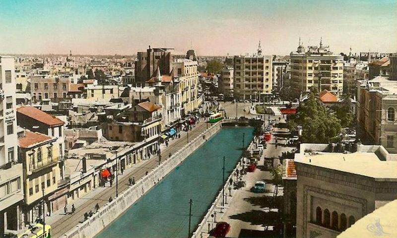 أرشيفية- ساحة المرجة وسط دمشق التقطت عام 1958