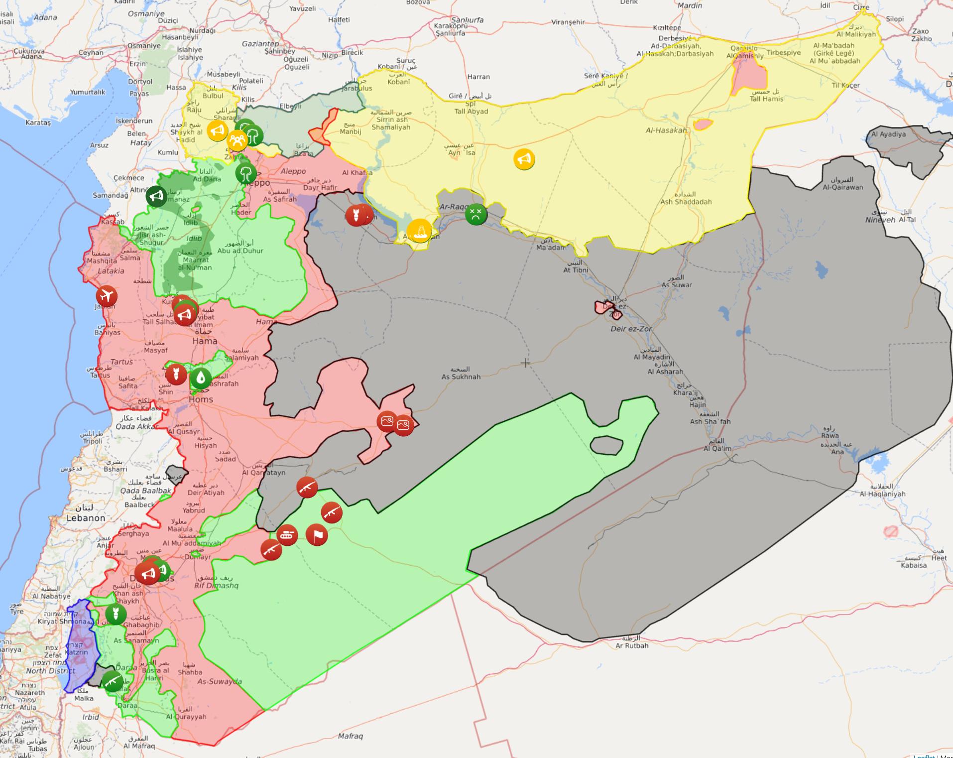 خريطة السيطرة في سوريا - 8 أيار 2017 (liveuamap)