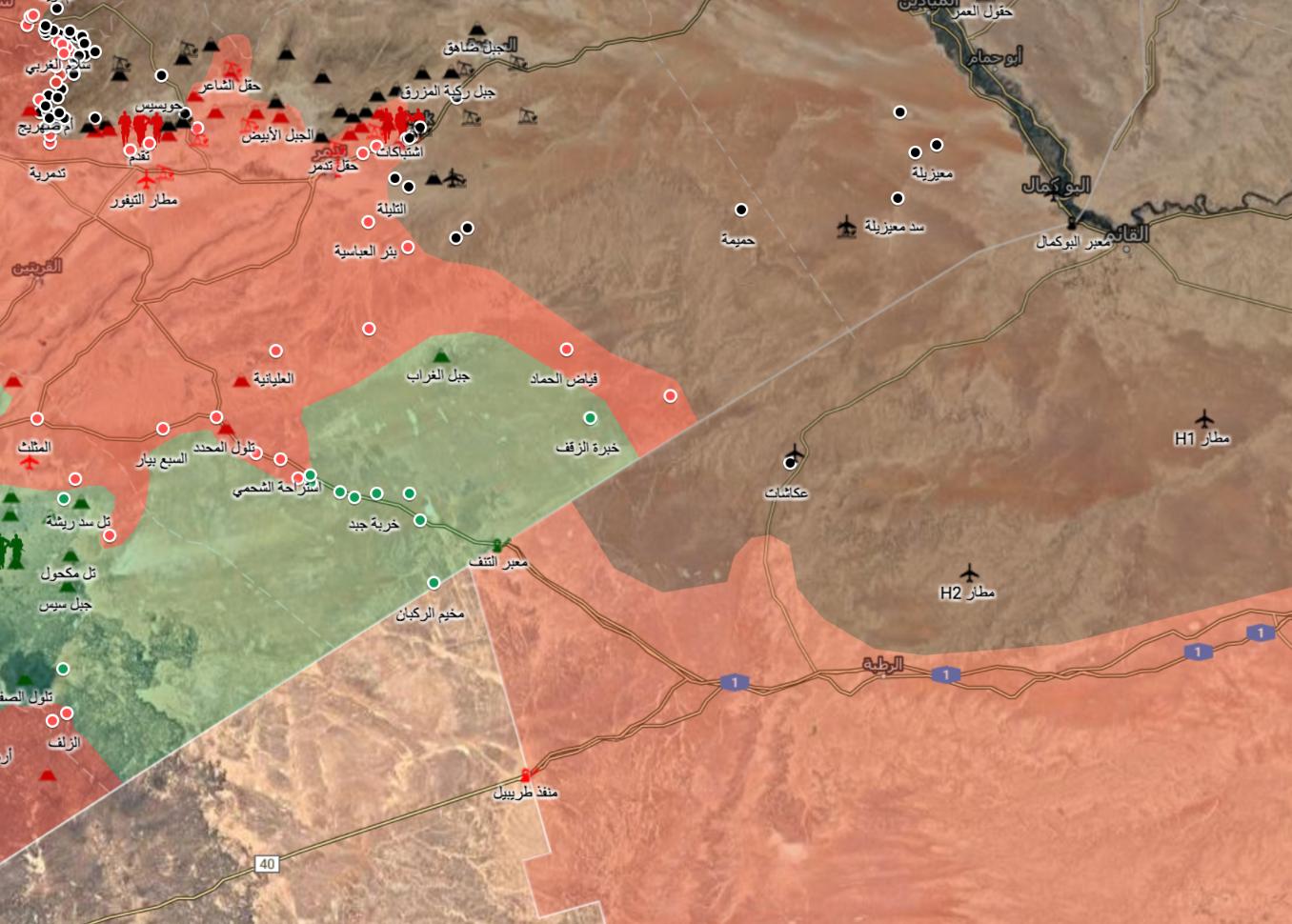 خريطة السيطرة في البادية السورية وعلى الحدود العراقية - 15 حزيران 2017 (ناشطون)