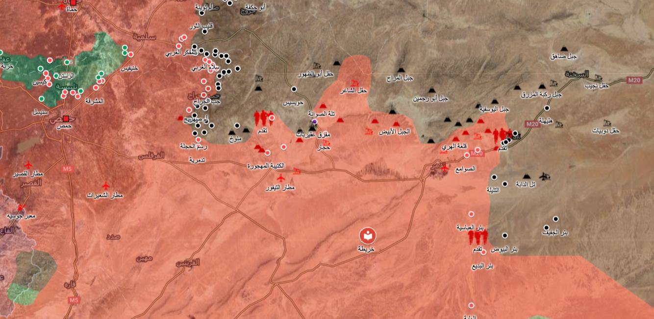 خريطة السيطرة في ريف حمص - 14 حزيران 2017 (ناشطون)