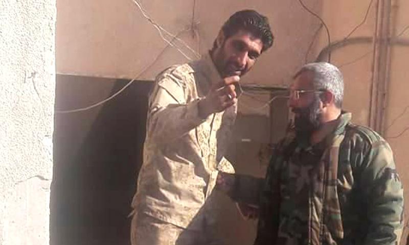 """الجبوري وغياث دلة، قائد """"قوات الغيث"""" في """"الفرقة الرابعة"""" التابعة لقوات الأسد (تويتر)"""