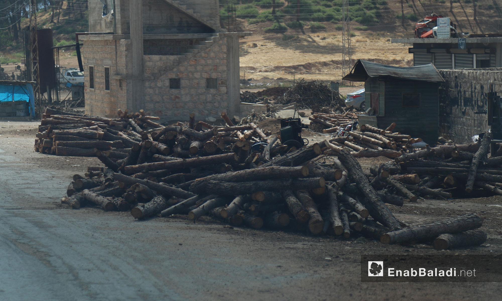 مركز بيع الحطب في ريف إدلب الغربي - 21 حزيران 2017 (عنب بلدي)