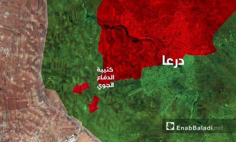 خريطة تظهر تقدم قوات الأسد جنوب مدينة درعا وقطعها ناريًا لطريق المعارضة بين الريفين - 20 حزيران 2017 - (عنب بلدي)
