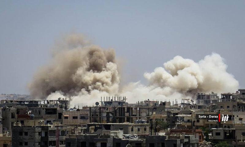 غارات بالبراميل المتفجرة على مدينة درعا- الجمعة 9 حزيران (نبأ)