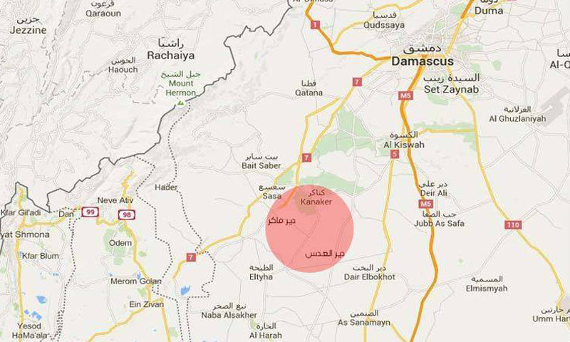 منطقة مثلث الموت في ريف درعا الشمالي (جوجل مابس)