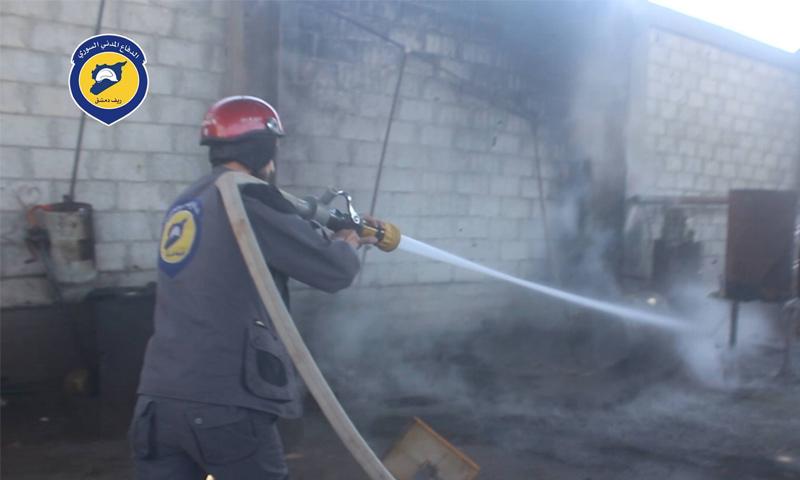 إطفاء حريق في مركز تكرير وقود داخل دوما بالغوطة الشرقية - 7 حزيران (الدفاع المدني في ريف دمشق)