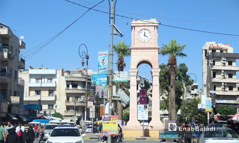 ساحة الساعة في مدينة إدلب - حزيران 2017 (عنب بلدي)