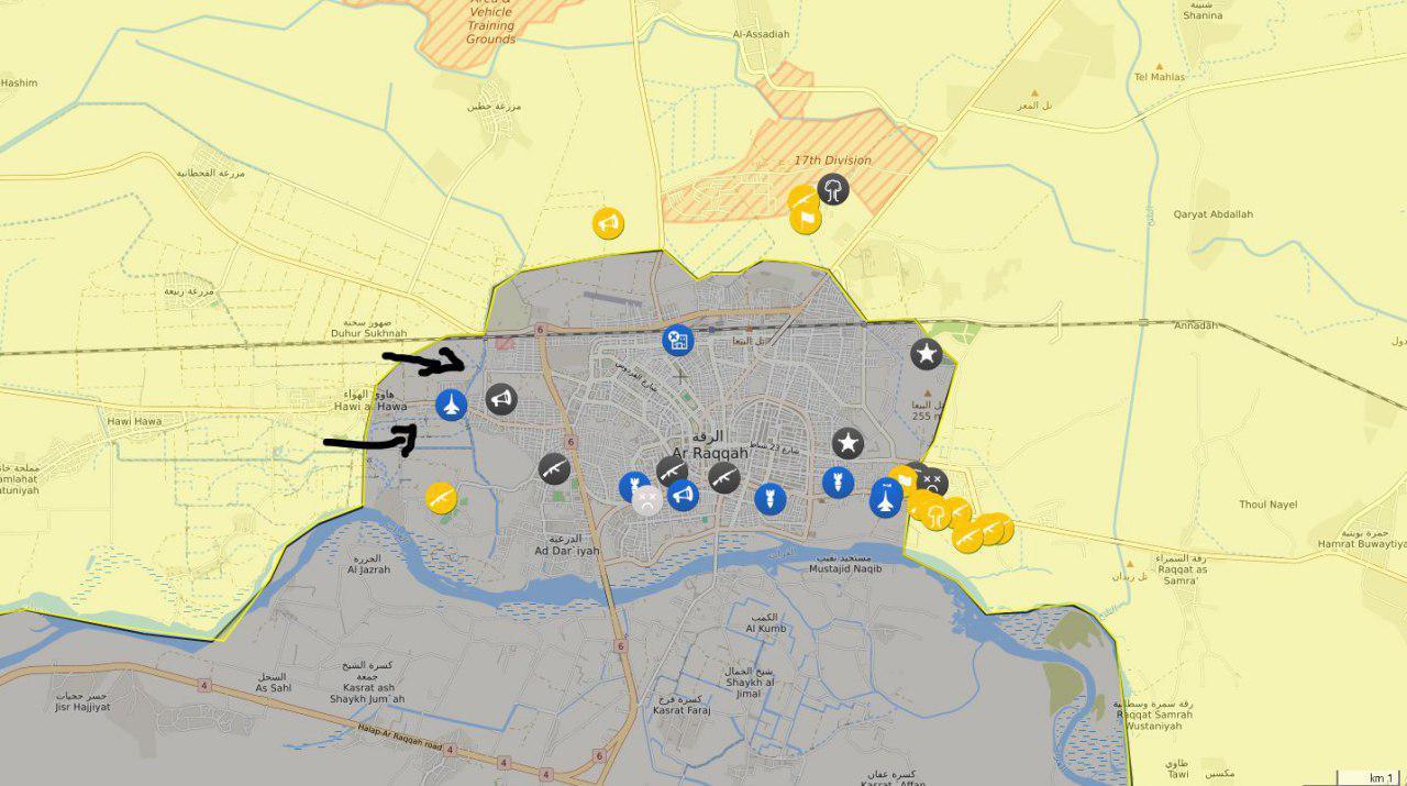 خريطة ميدانية تظهر تقدم قسد في محيط مدينة الرقة - 9 حزيران 2017 - (غضب الفرات)
