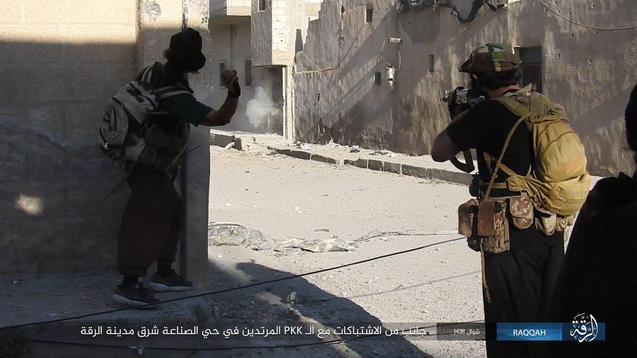 """عناصر من تنظيم """"الدولة"""" في مدينة الرقة- الثلاثاء 27 حزيران (تلغرام)"""